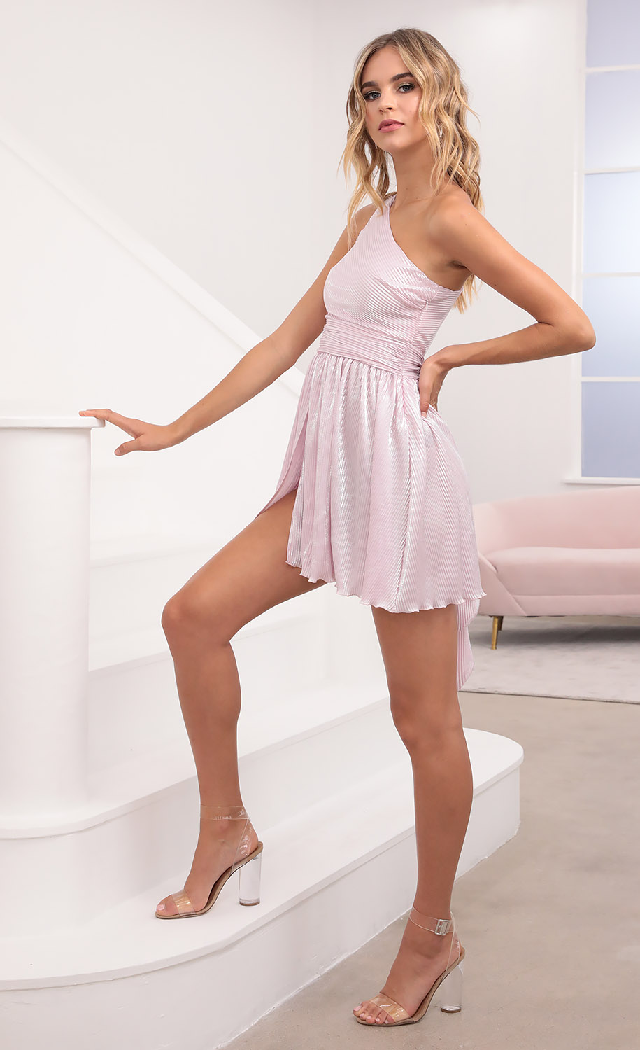 Mary One Shoulder Dress in Pink Shimmer
