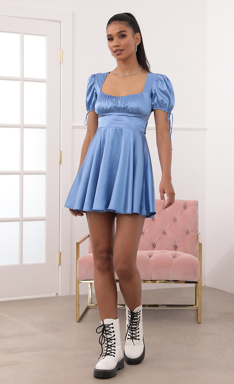 Gracie Dress in Blue Satin