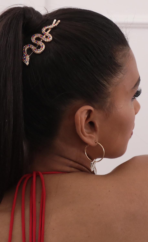Gold Jeweled Snake Hair Pin