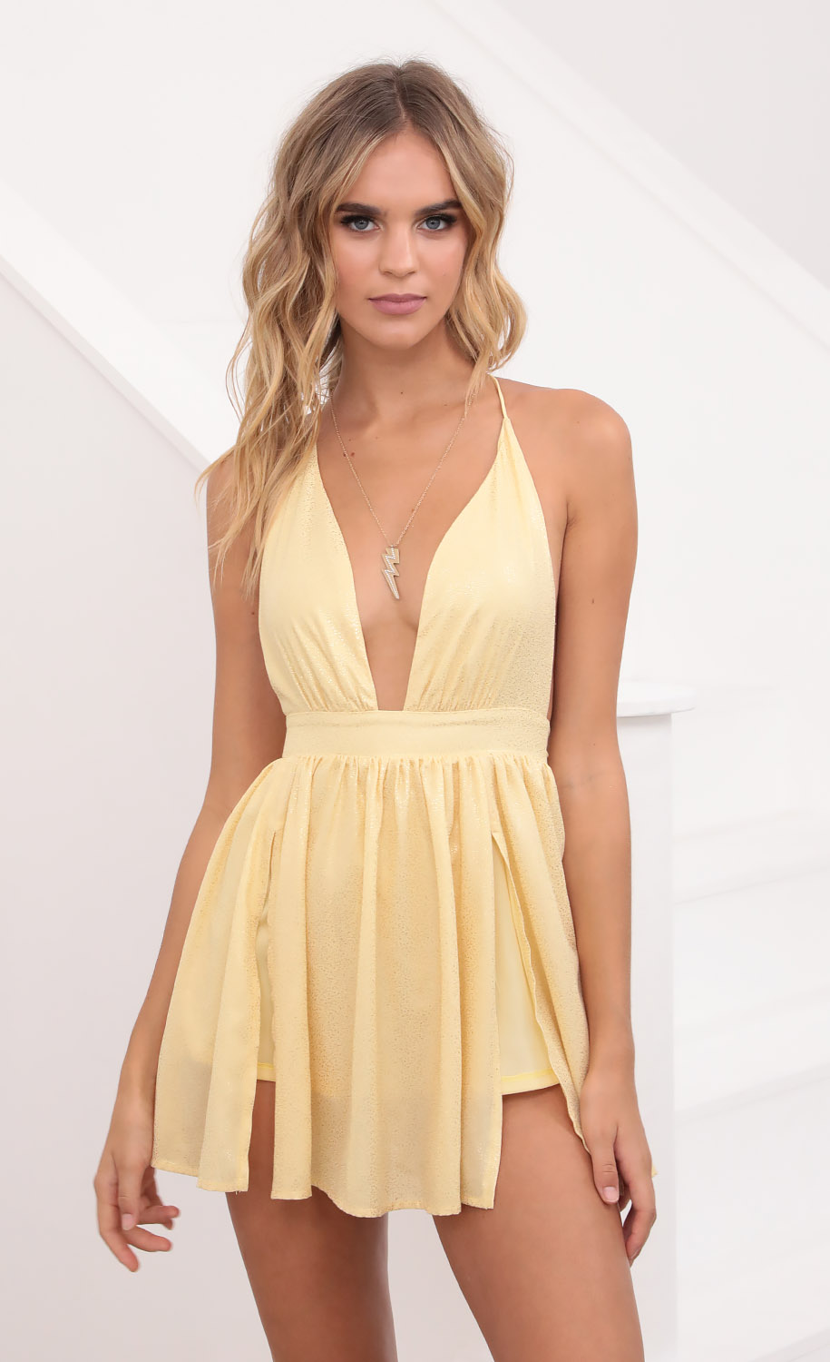 Get Right To It Dress in Yellow Shimmer