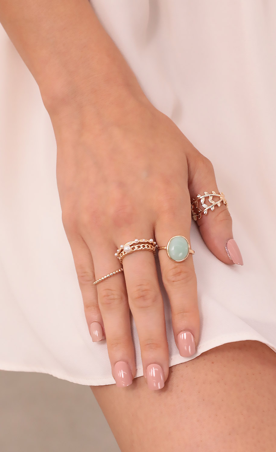 Lucky Sage Ring Set in Gold