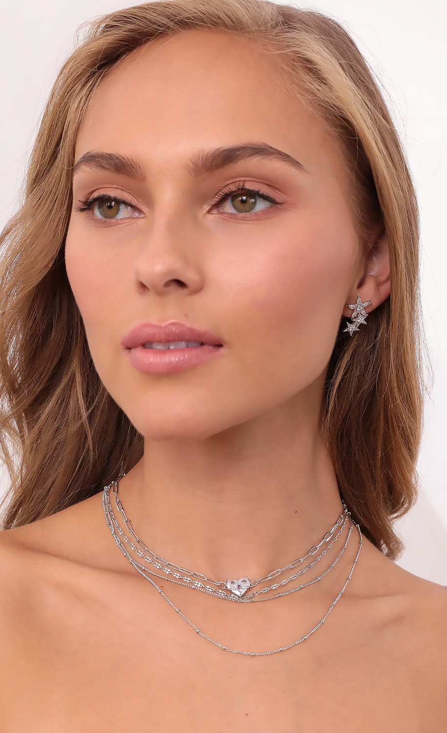 Lone Lover Layered Necklace in Silver