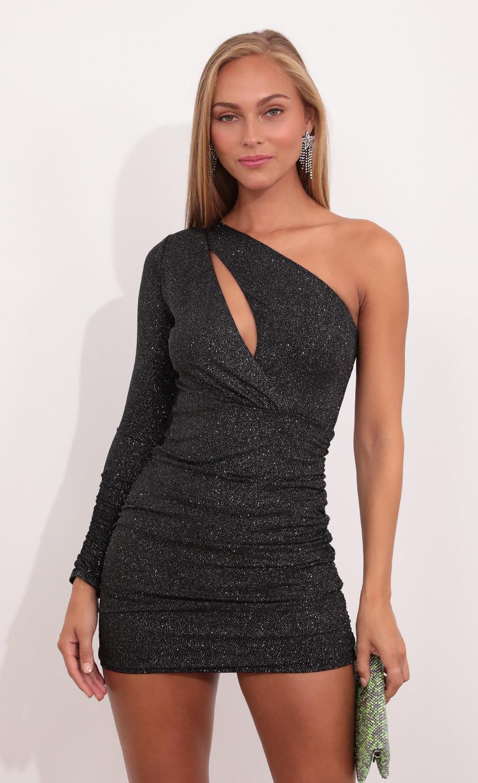 Astar Keyhole Dress in Black Shimmer