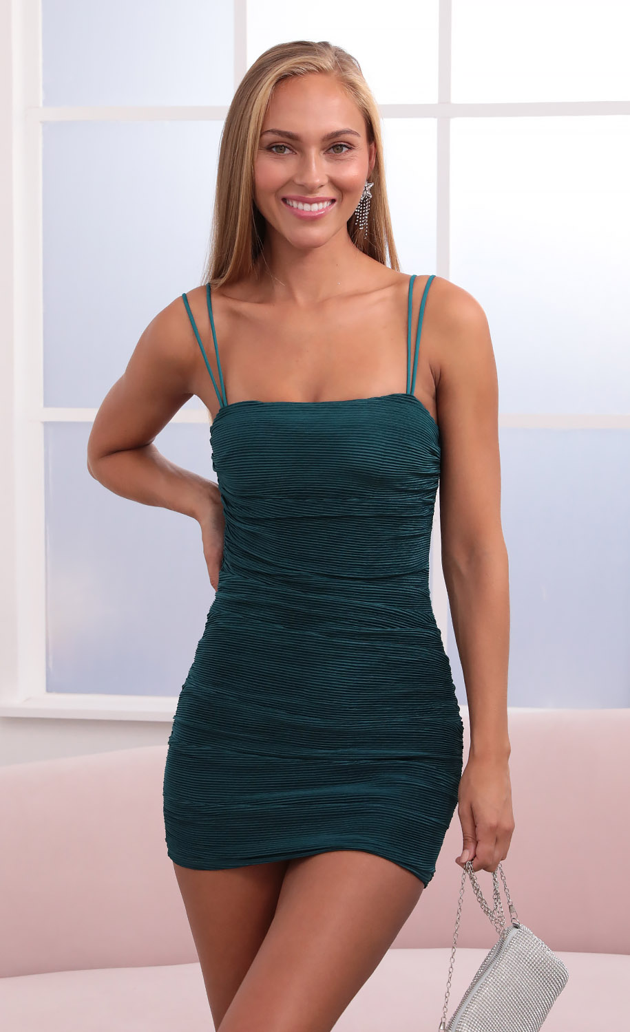 Arabelle Pleated Body Con Dress in Turquoise