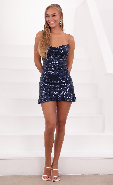 Josie Iridescent Sequin Slip Dress in Navy