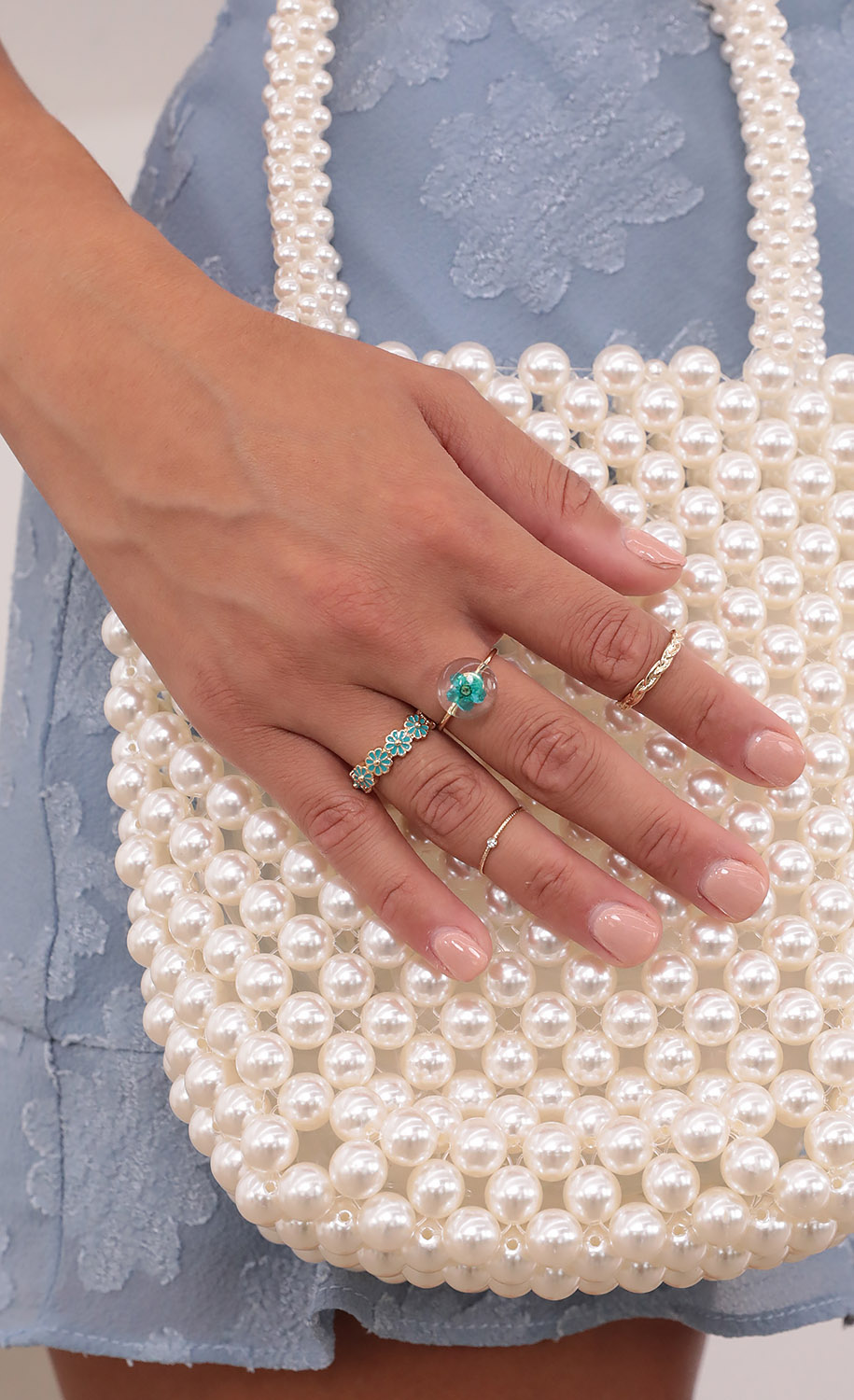 Fields of Blue Ring Set in Gold