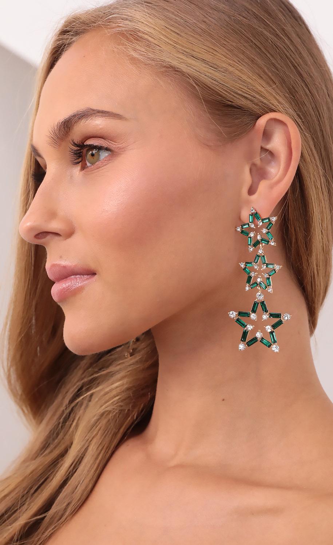 Star Gazing Dangle Earrings in Emerald Green