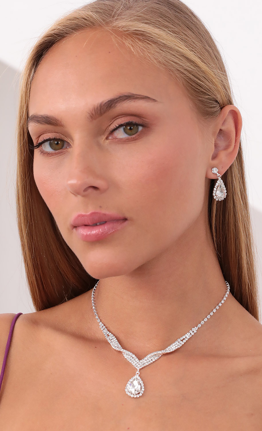 After the Ball Crystal Necklace Set in Silver
