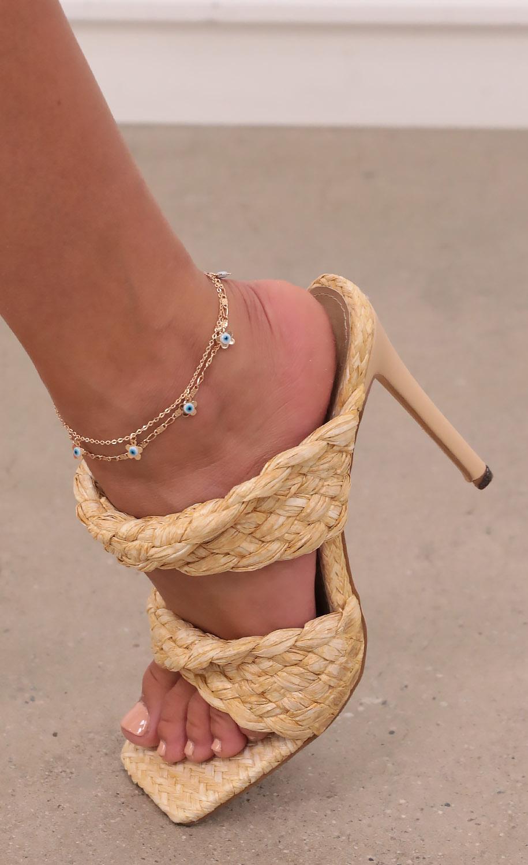 Blue Eyed Girl Anklet in Gold
