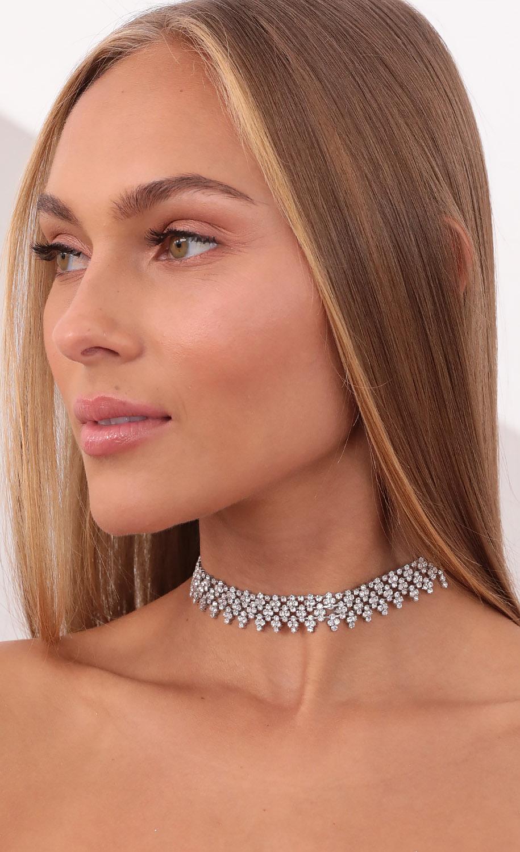 Glitz Girl Crystal Choker in Silver