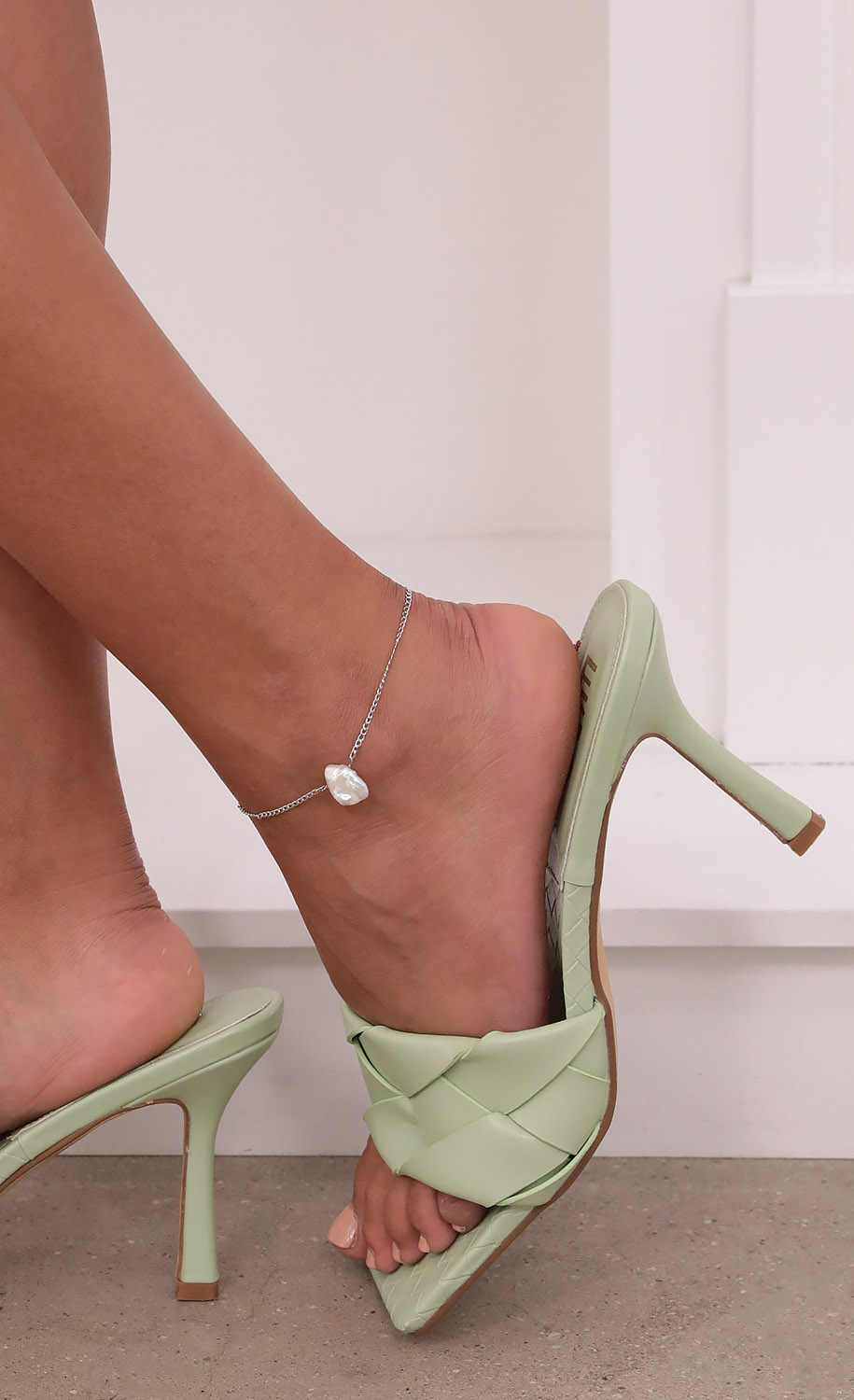 Water Pearl Lover Anklet in Silver